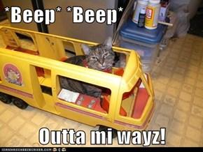 *Beep* *Beep*  Outta mi wayz!