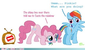 Pinkie tastes the rainbow