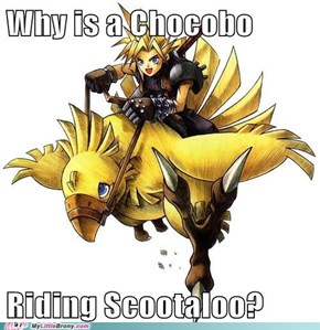 That Chocobo has some ridiculous hair.