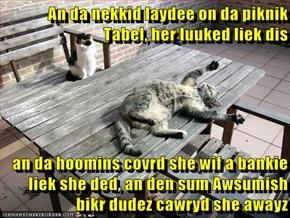 An da nekkid laydee on da piknik Tabel, her luuked liek dis  an da hoomins covrd she wif a bankie liek she ded, an den sum Awsumish bikr dudez cawryd she awayz
