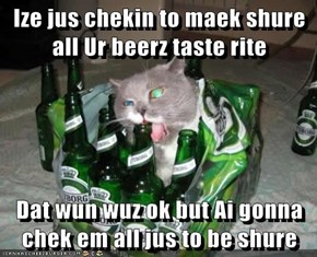 Ize jus chekin to maek shure all Ur beerz taste rite  Dat wun wuz ok but Ai gonna chek em all jus to be shure