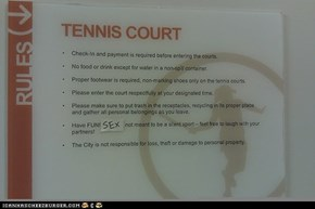 Best Tennis Court Sign EVER.