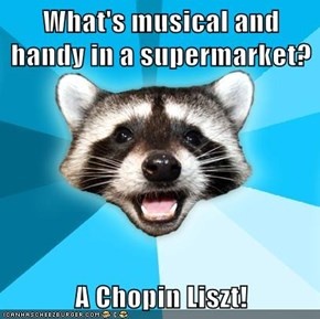 What's musical and handy in a supermarket?  A Chopin Liszt!