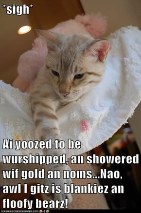*sigh*  Ai yoozed to be wurshipped, an showered wif gold an noms...Nao, awl I gitz is blankiez an floofy bearz!