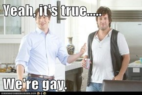 Yeah, it's true.....  We're gay.