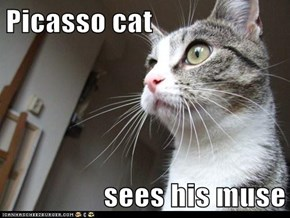 Picasso cat  sees his muse