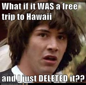 What if it WAS a free trip to Hawaii  and I just DELETED it??