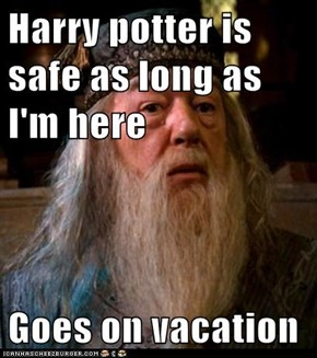 Harry potter is safe as long as I'm here  Goes on vacation