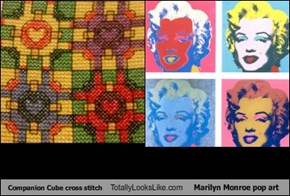 Companion Cube cross stitch Totally Looks Like Marilyn Monroe pop art
