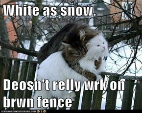 White as snow.  Deosn't relly wrk on brwn fence