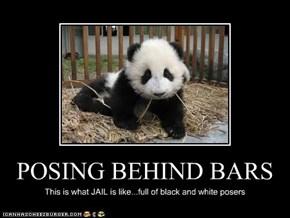 POSING BEHIND BARS