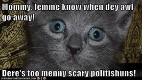 Mommy, lemme know when dey awl go away!  Dere's too menny scary politishuns!