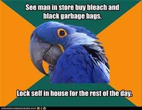 See man in store buy bleach and black garbage bags.