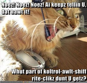 Noez! Noez! Noez! Ai keepz tellin U, dat nawt it!  Whut part of koltrol-awlt-shiff rite-clikz dunt U getz?