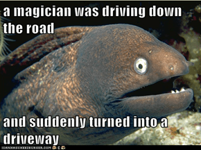 a magician was driving down the road  and suddenly turned into a driveway