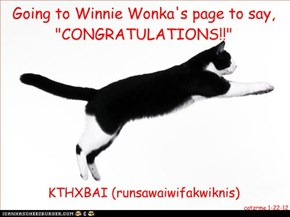 "Going to Winnie Wonka's page to say, ""CONGRATULATIONS!!"""