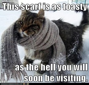 This scarf is as toasty  as the hell you will soon be visiting.