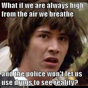 What if we are always high from the air we breathe  and the police won't let us use drugs to see reality?