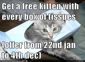 Get a free kitten with every box of tissues  (offer from 22nd jan to 4th dec)