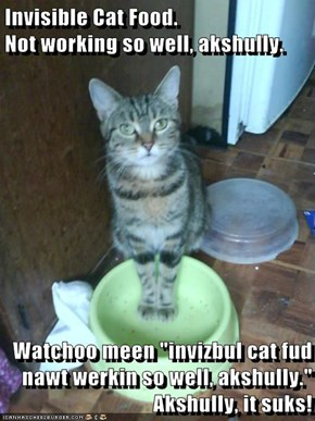 "Invisible Cat Food.                           Not working so well, akshully.   Watchoo meen ""invizbul cat fud nawt werkin so well, akshully."" Akshully, it suks!"