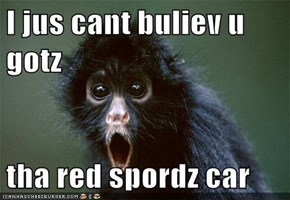 I jus cant buliev u gotz   tha red spordz car