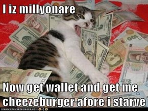 I iz millyonare  Now get wallet and get me cheezeburger afore i starve