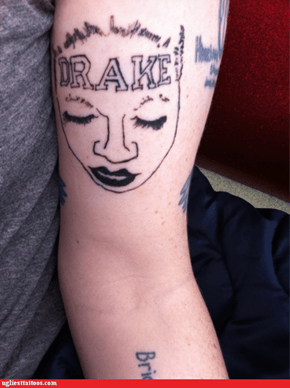 A bad tattoo of the girl with the bad Drake tattoo--this is too meta for me to handle