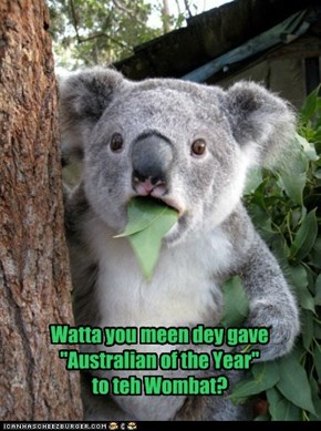 "Watta you meen dey gave ""Australian of the Year""to teh Wombat?"
