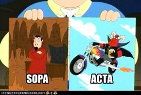 A chart demonstrating the difference between SOPA and ACTA