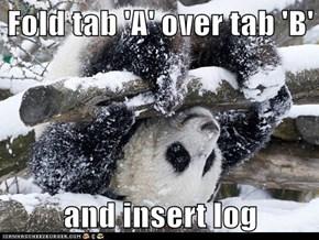 Fold tab 'A' over tab 'B'