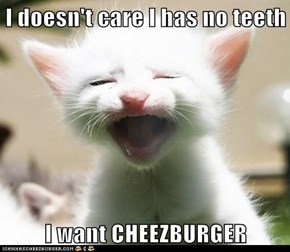 I doesn't care I has no teeth  I want CHEEZBURGER