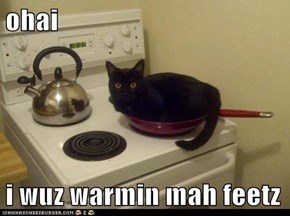 ohai  i wuz warmin mah feetz
