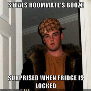 STEALS ROOMMATE'S BOOZE   SURPRISED WHEN FRIDGE IS LOCKED