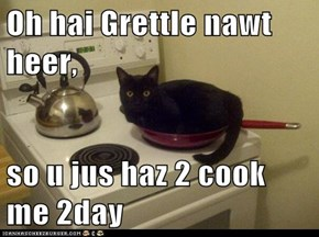Oh hai Grettle nawt heer,  so u jus haz 2 cook me 2day