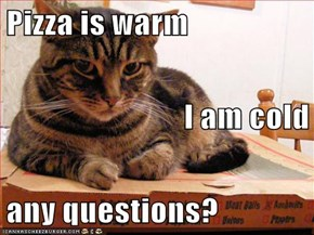 Pizza is warm