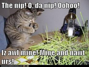 The nip! O, da nip! Oohoo!   Iz awl mine! Mine and nawt urs!