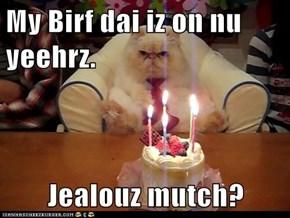 My Birf dai iz on nu yeehrz.  Jealouz mutch?