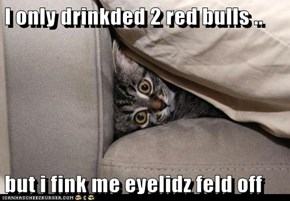 I only drinkded 2 red bulls ..    but i fink me eyelidz feld off