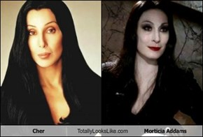TLL Classic: Cher Totally Looks Like Morticia Addams (Anjelica Huston)