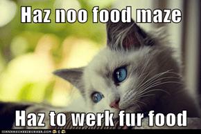 Haz noo food maze  Haz to werk fur food