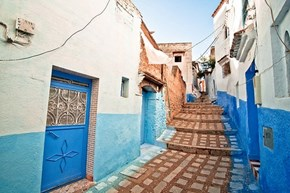 Walkway in Chefchaouen, Morocco