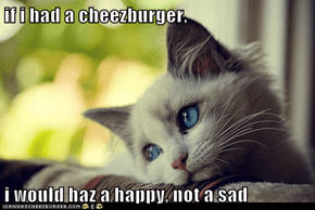 if i had a cheezburger,  i would haz a happy, not a sad