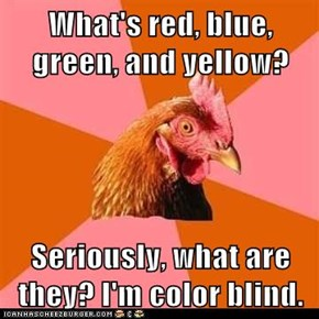 What's red, blue, green, and yellow?  Seriously, what are they? I'm color blind.