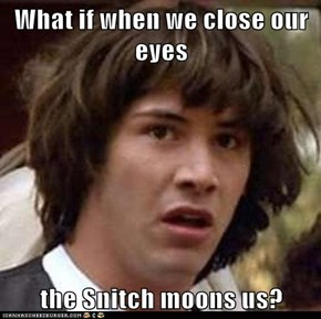 What if when we close our eyes  the Snitch moons us?