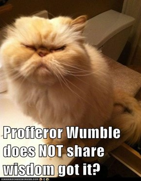 Profferor Wumble does NOT share wisdom got it?