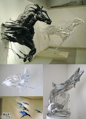 Plastic works of art
