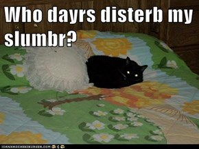Who dayrs disterb my slumbr?
