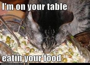I'm on your table  eatin your food