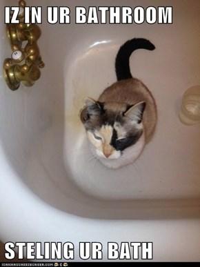 IZ IN UR BATHROOM  STELING UR BATH