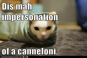 Dis mah impersonation  of a canneloni.